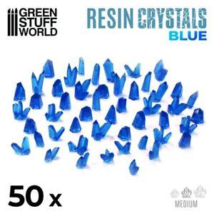 BLUE Resin Crystals - Medium - Bases Diorama Warhammer Highlands 40k