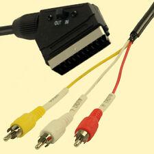 SCARTKABEL auf 3 x Cinchstecker - Adapterkabel Scart / Cinch - umschaltbar - NEU