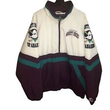90s Anaheim Mighty Ducks Starter Sz XL Vtg Puffer Pullover Jacket NHL Hockey Men