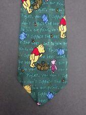 Men's Neck Tie Winnie the Pooh & Piglet Picnic  Disney Green SILK
