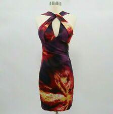 Karen Millen Halter Wiggle Dress US4 UK8 Keyhole Satin Purple Red