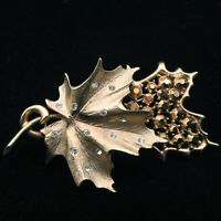 Vintage Gold Tone Sarah Coventry Maple Leaf Leaves Pin Brooch with Rhinestones