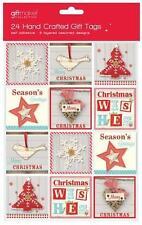 24 x Shabby Chic Diseño Hechos a Mano Navidad Etiquetas de regalo Autoadhesivo