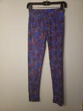 LuLaRoe Women's Leggings Size One Size Purple Red Green Plaid Print Over...