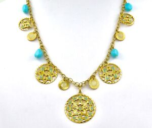 TURQUOISE & Enamel Collar in 18ct. Yellow Gold Length 49.5cm, 19.48inches