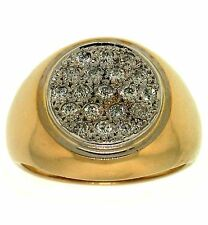 0.75ctw H-I MENS ROUND DIAMOND RING 14K TWO-TONED GOLD