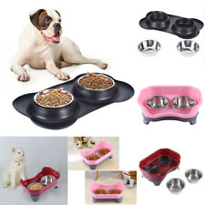 Pet Food Double Bowl Dog Cat Water Stand Stainless Steel Dish Puppy Feeder p6