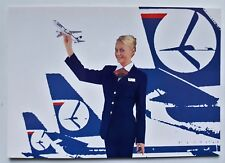 LOT Polish Airlines postcard stewardess (Airline Issue)