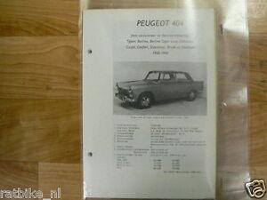 PE07-PEUGEOT TYPE 404 MET CARBURATEUR EN BENZINE-INSPUITING 1960-1968 TECHNICAL