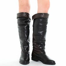 Vintage Cuffed LEATHER Boho Over-The-Knee High Riding Equestrian OTN Tall Boots