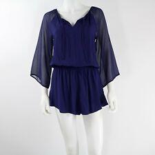 Express Women's Romper Sheer Sleeves Navy Blue Purple Size XS  $59