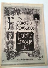 P.I.L. Flowers of Romance 1981 UK Poster size Press ADVERT 16x12 inches