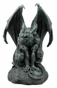 "Warden Vraskod Large Cathedral Guardian Crouching Winged Gargoyle Statue 12.5""H"
