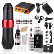 Solong Rotary tattoo machine kit pen 8pc inks Power Supply Cartridges needles US