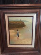 Small Boy with Fish Pole Oil Painting on Canvas Signed by C. Manuel~#2