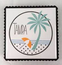 "Vtg Retro Tampa Florida Souvenir 4.5"" Tile Trivet Turquoise Orange Black & White"