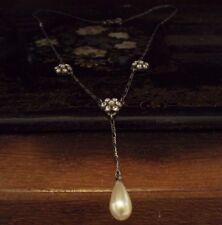 Butler & Wilson Elegant Vintage Crystal &  Pearl Drop Pendant Necklace. Signed