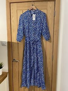zara marilyn Style Dress Blue Polka Dot Size Xl (14-16) Eith Belt And Pocket