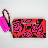Betsey Johnson Zip Around Wallet Wristlet Red Pink Roses Gold Tone Faux Leather