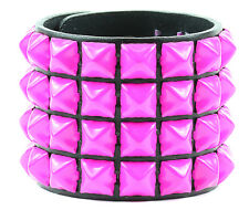 Pyramid Pink Stud Leather Punk Goth Club Rockabilly Bracelet Wrist Leather Cuff