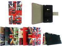 Union Jack Big Ben Leather  Wallet Flip Book Case for Nokia Lumia 625 + STYLUS