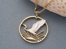 "Egret Bird & Sunrays Coin Pendant Necklace.Hand cut. 1-1/8"" dia. (# 863 )"