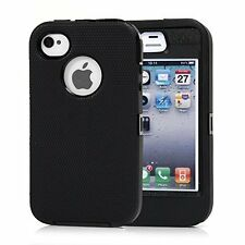For IPhone 4/4S Defender Protective Case Black w/Belt Clip & Screen Protector