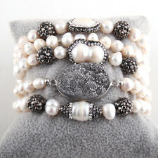 RH Fashion Jewelry Set Pearl Beads Knotted Handmake Paved Freshwater Pearl Neckl