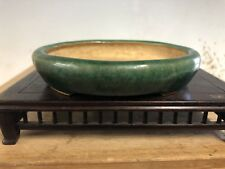 "Beautiful Green Glazed Shohin Size Bonsai Tree Pot By Takao Koyo 4 1/2"""
