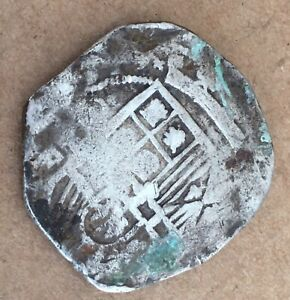 1600s Spanish Spain 8 Reales Real Cob Silver Coin Colonial Treasure 26.6 (MJ027)