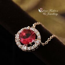 18K Rose Gold Filled Made With Swarovski Element Round Cute Ruby Halo Necklace