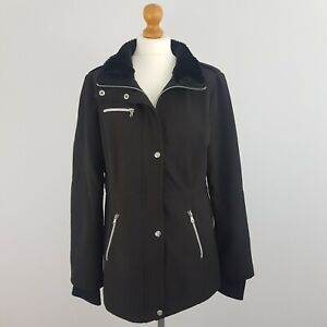 Jessica Simpson Womens Black Mid Length Coat Jacket & Faux Fur Collar Large