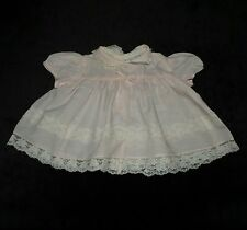 SWEET VINTAGE NANNETTE BABY GIRL'S DRESS PALE PINK W/ IVORY LACE APPROX 3-6 M
