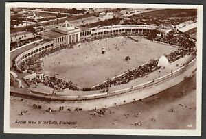 Postcard Blackpool Lancashire aerial view of the Bath swimming pool RP early