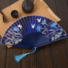 Expédié de Paris - Eventails Eté Papillon Prunier Japonais Nippon Ancien Bambou