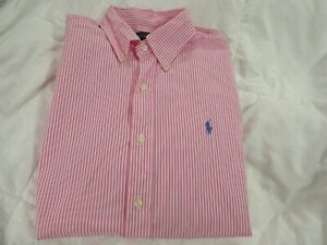 RALPH LAUREN  mens SLIM  FIT PINK/WHITE sizeM new
