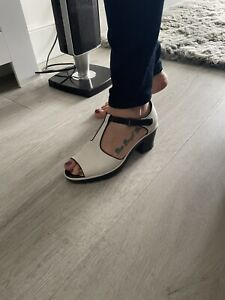 Clarks White Leather Chunky Sandals