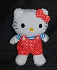 Peluche doudou chat blanc Hello Kitty SANRIO salopette rouge pois blanc TTBE