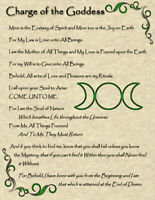 Charge of the Goddess: Wicca Pagan New Age Goth Witch Celtic Spirit Soul Magic