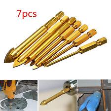 "7Pcs Ceramic Tile Glass Drill Bits 1/4"" Hex Shank Set for Chucks Bit Holder 3-12"