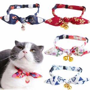 Bow Tie Cat Collars Breakaway with Bell Unique Bunny Ears Kitten Collars