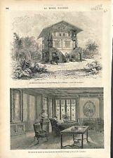 Maison Chalet Jules Janin Ecrivain Passy ANTIQUE PRINT GRAVURE 1874