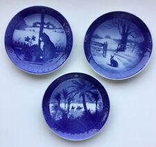 Lot of 3 Royal Copenhagen Blue Christmas Plates 1970, 1971, 1972 Euc!