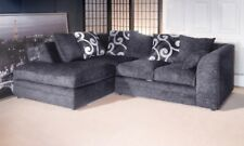 *** BRAND NEW*** Zinc Chenille Grey Fabric Corner Sofa Cheap Pattern Cushion