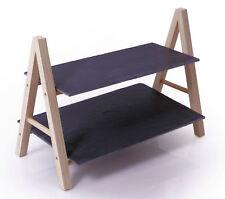 Schiefer Etagere mit 2 Etagen 36cm - Etagenständer Servierplatte mit Holzgestell
