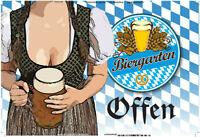 Biergarten offen Blechschild Schild gewölbt Metal Tin Sign 20 x 30 cm