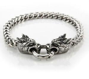 Mens Vintage Heavy titanium steel Double Dragon Head Bracelet Cuban Biker Chain
