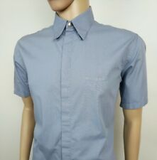 """Versace Classic Mens Shirt Pale Blue Spellout Vintage 16 - 41 Chest 46"""" Italy"""