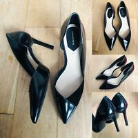 Women ZARA Black Patent Leather Heels UK 7 EU40 High Pointy Stiletto Court Shoes