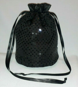 Black Sequinned and Satin Drawstring Dolly Bag Evening Handbag Prom Party